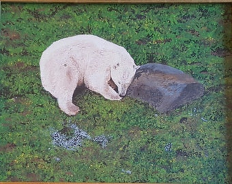 Polar Bear print of original acrylic painting.