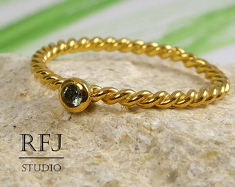 Twisted Lab Tourmaline Gold Ring, October Birthstone Light Green 2 mm CZ 2 Rope 24K Yellow Gold Plated Ring, Gold Braided Tourmaline Ring