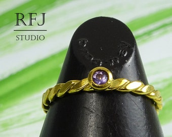 Natural Amethyst Flat Twist GF Ring, February Birthstone 24K Yellow Gold Plated 2 mm Purple Amethyst Flat Braided Ring, Golden Amethyst Ring