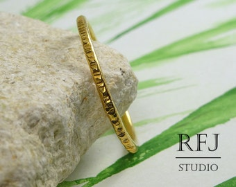 Stacking Yellow Gold Plated Textured Ring, 24K Gold Plated Ring with Small Texture, Textured Gold Ring, Stackable Yellow Gold Ring, GF Ring