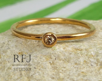 14K Gold  Lab Cognac Diamond Ring, Rose Gold Plated Cognac 2mm Cubic Zirconia Ring Stacking Rose Gold Diamond Ring Stackable Golden Ring