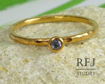 Lab Aquamarine Hammered Rose Gold Ring, 14K Gold Plated March Gemstone Ring, 2 mm Ligth Blue Cubic Zirconia Stacking Rose Gold Plated Rings