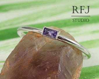 Tiny Baguette Lab Amethyst Silver Ring, February Birthstone Gemstone 3x1.5 mm Baguette Cut Classic Ring Baguette Purple CZ Stackable Ring