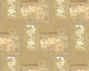 IN STOCK- HBO Game of the thrones Fabric: Game of Thrones Map of Westeros 100% cotton fabric by the yard (SC412)