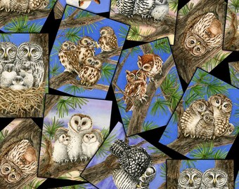 """In Stock- Owls Fabric:  Elizabeth's Studio Owl Families-Owls Snapshots 100% cotton fabric by the yard 36""""x43"""" (ES9)"""