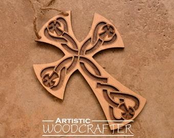 Wooden Celtic Cross Wall Decor (Birch/Walnut)