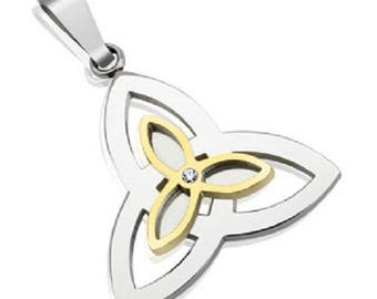 Two Tone Celtic Knot Stainless Steel Pendant