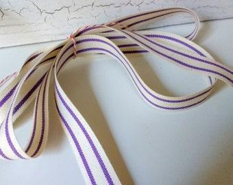 lavender  and cream ticking stripe cotton ribbon