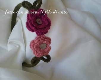 Headband with pink and Fuchsia