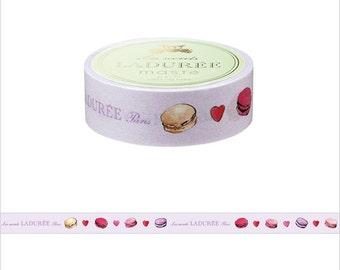 LADUREE macaroons and hearts washi tape 1roll (32.8') light purple based color masking tape