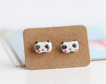 Handmade cute panda clay stud earrings
