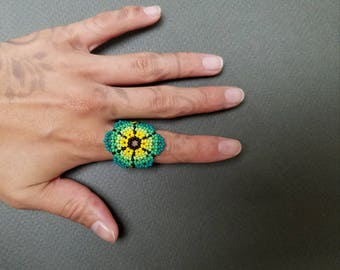 Seed bead ring, huichol ring