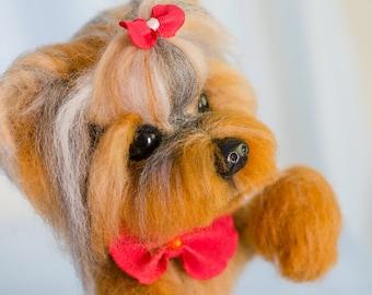 Needle felted yorkshire terrier Daisy. Needle felted animal. Needle felted dog. Home decor. Felted yorkie. Needle felted yorkie. Wool animal
