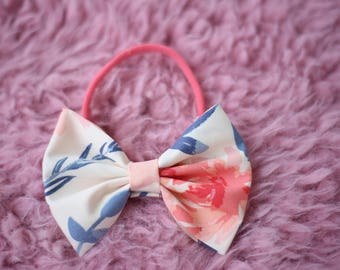 Floral Water Color Bow, Headband, Clip