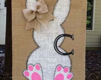 Bunny Burlap Garden  Flag