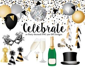 Celebration clipart, Champaign bottle, champaign glasses, top hat, mask, balloons, banner, confetti, party hat, party blower