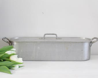 Vintage French Aluminium Fish Steamer/Poacher - 60cm - Poissoniere