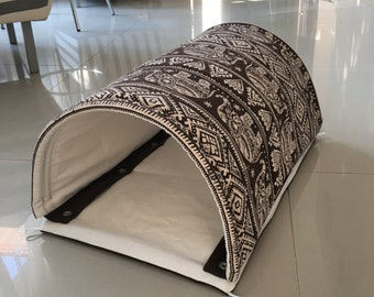 """2 in 1 - Multi Purposes - Cat Pad - Cat Mat - Cat Tunnel size 32.5"""" x 17.5"""", Unique and Durable with Thick Canvas Fabric - Brown Elephants"""