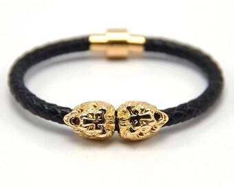 Lion Bracelet Gold / Black Nappa Leather