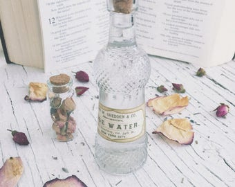 Rose Water in 1.7oz [50ml] Apothecary Glass Bottle / Botanical-Floral-Facial toner-Skin care-Witchcraft-Wicca-Pagan-metaphysical-element