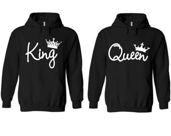 King Queen Write Couple Matching Premium 10 oz 80 cotton Black Hoodie - Price for 1 hoody-