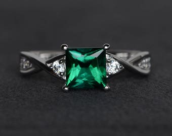 princess cut emerald ring green emerald ring sterling silver ring emerald engagement ring promise ring gemstone ring May birthstone