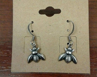 Silver Plated Bumble Bee Earrings