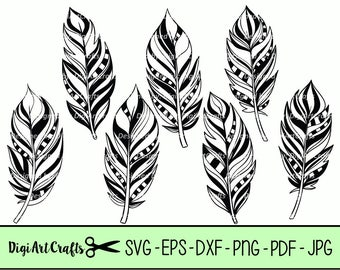 Hand Drawn Feather Silhouettes SVG cutting Files / DYI Feather Vectors / Lazer Cutting Machine images / Boho Silhouettes / Commercial Use