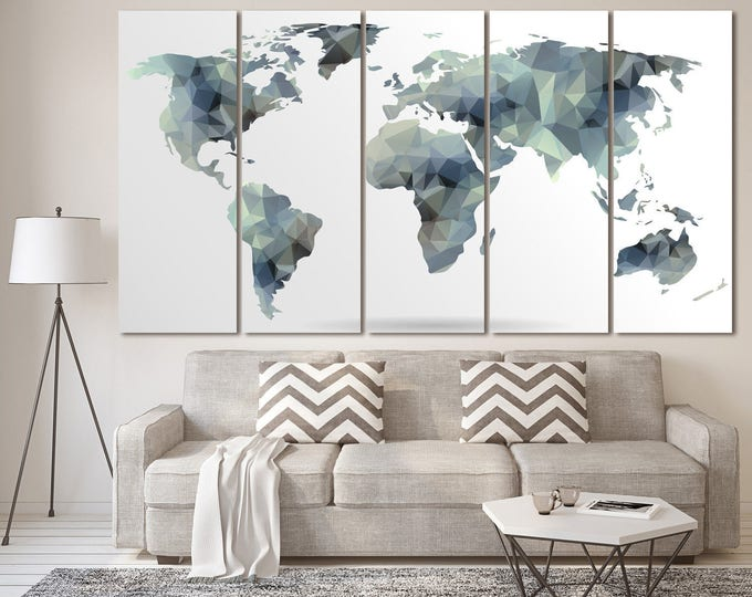 Large Gray Abstract World Map, Gray world map Abstract Wall Art, Gray Geometric Map of 3 or 5 Panels on Canvas Wall Art for Home Decoration
