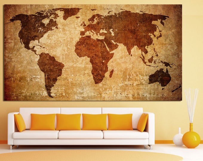 Large antiuque map wall print art canvas set, old world map wall decor canvas print, vintage map of the world home decor poster canvas art