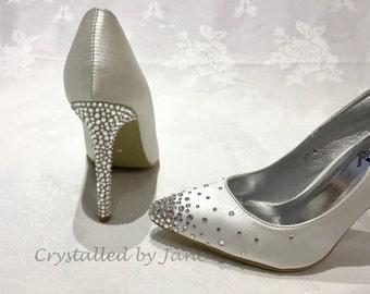 Custom Strassed Swarovski Crystal Shoes Heels Pumps - Bridal Bridesmaid Wedding  - Bespoke service - send us your shoes