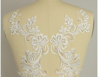 2pc. mirrored lace flower applique - IVORY/ SILVER - Lace flower, lace patch, bridal dress appliqué (NYF-0568)