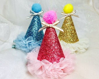 Party hat hair clips birthday party hat headband glitter party hats baby headband dog birthday hat headband