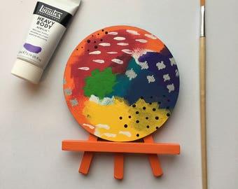 Original Art, Miniature Art, Mini Painting, Abstract Painting, Abstract Art, Multi Color Art, Original Painting, Round Art