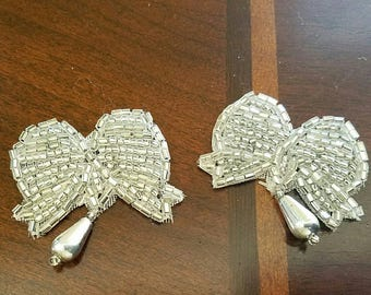 Antique beaded bows appliques embellishments wedding silver
