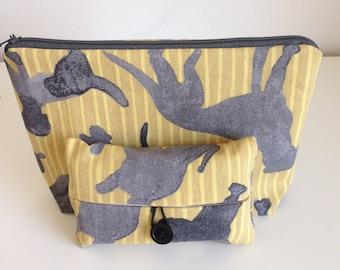 Dog Makeup Bag, Makeup Case, Cosmetic Bag and Pocket Tissue holder, Travel Tissue Case, Purse and matching pocket tissue case