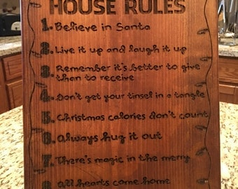 Christmas rules plaque 11 x 17