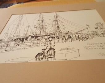 ON SALE, Marina Print, Hawaii Art, Hawaiian Print, Front Street Hawaii, Lahaina MAUI, Fishing Boats, Original Print, Hawaii Capital,