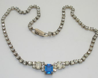 Vintage Clear & Blue Rhinestone Necklace
