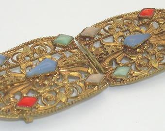 Circa 1920s Vintage Ornate Jeweled Filigree Ladies' Belt Buckle