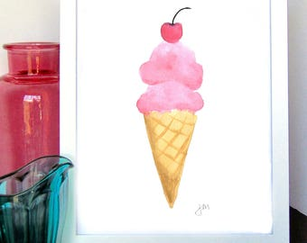 Ice Cream Watercolor Print - Kitchen Wall Decor - Kids Room Decor - Nursery Room Decor - Baby Shower Gift - Gift for Her - Gift For Him