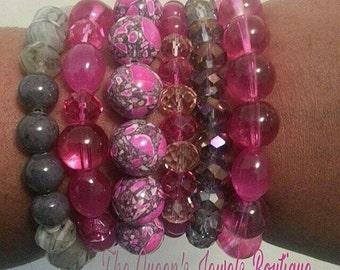 Pink & Gray Stacked Bracelets, Stretch Bracelets, Beaded Bracelets, Arm Candy, Wrist Wear, Boho Jewelry, Wrist Candy
