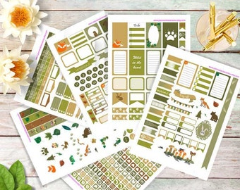 Forest friends, mega set  for Happy planners and Erin Condren, Printable Planner Stickers, Weekly Planner Stickers,