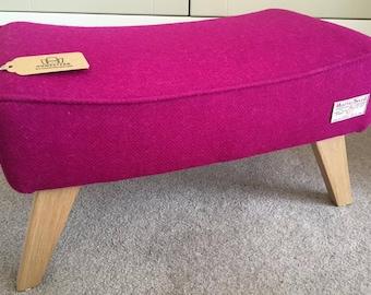 Magenta Pink Harris Tweed Footstool