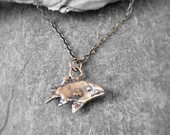 Silver FISH Necklace - Sterling Silver Fish Pendant - Fishing