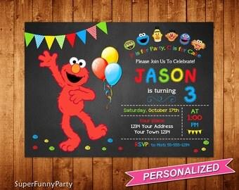 Sesame Street Invitation, Elmo Invitation Invitation, Elmo Birthday Invite, Elmo Printable, Personalized, Digital File