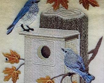 "Embroidered ""Birdhouse-Mountain Bluebirds In Autumn"" Shirt"
