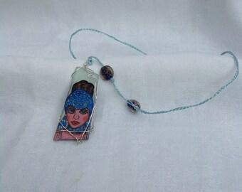 Gloria Swanson Pendant hand painted on sea glass