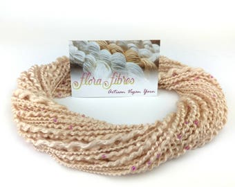 """Hand spun naturally dyed vegan rose thick and thin spiral plied beaded art yarn """"A Jewelled Rose"""" for knitting crochet weaving UK"""