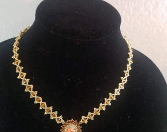 Brown & gold sample necklace crystal rivoli
